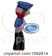 Red Police Man Looking At Large Compass Facing Right
