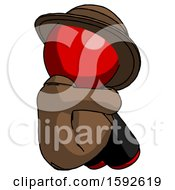Red Detective Man Sitting With Head Down Back View Facing Right
