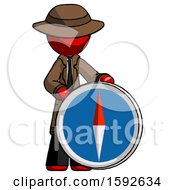 Red Detective Man Standing Beside Large Compass
