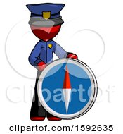 Red Police Man Standing Beside Large Compass