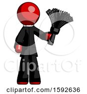 Red Clergy Man Holding Feather Duster Facing Forward
