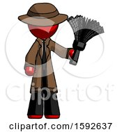 Red Detective Man Holding Feather Duster Facing Forward