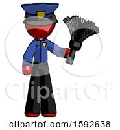 Red Police Man Holding Feather Duster Facing Forward