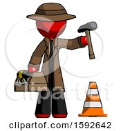 Red Detective Man Under Construction Concept Traffic Cone And Tools