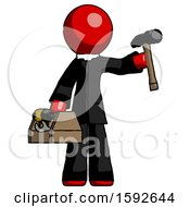 Red Clergy Man Holding Tools And Toolchest Ready To Work