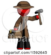 Red Detective Man Holding Tools And Toolchest Ready To Work