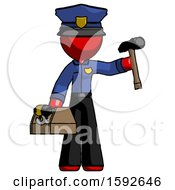 Red Police Man Holding Tools And Toolchest Ready To Work