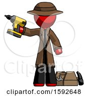 Red Detective Man Holding Drill Ready To Work Toolchest And Tools To Right