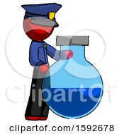 Red Police Man Standing Beside Large Round Flask Or Beaker