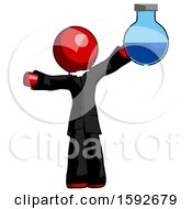 Red Clergy Man Holding Large Round Flask Or Beaker