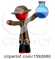 Red Detective Man Holding Large Round Flask Or Beaker
