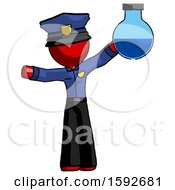 Red Police Man Holding Large Round Flask Or Beaker