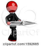 Red Clergy Man Walking With Large Thermometer