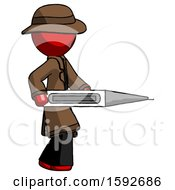 Red Detective Man Walking With Large Thermometer