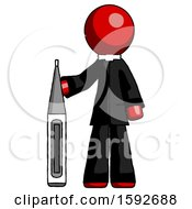 Red Clergy Man Standing With Large Thermometer