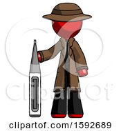 Red Detective Man Standing With Large Thermometer