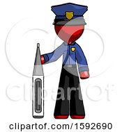 Red Police Man Standing With Large Thermometer