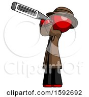 Red Detective Man Thermometer In Mouth