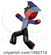 Red Police Man Running Away In Hysterical Panic Direction Left