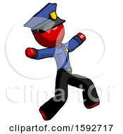 Red Police Man Running Away In Hysterical Panic Direction Right