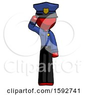 Red Police Man Soldier Salute Pose