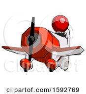 Red Clergy Man Flying In Geebee Stunt Plane Viewed From Below