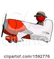 Red Detective Man In Geebee Stunt Aircraft Side View