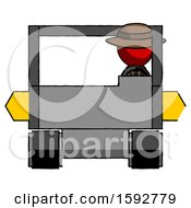 Red Detective Man Driving Amphibious Tracked Vehicle Front View