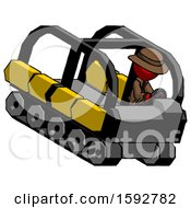 Red Detective Man Driving Amphibious Tracked Vehicle Top Angle View
