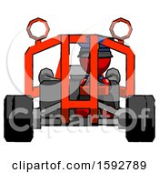 Red Police Man Riding Sports Buggy Front View