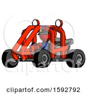 Red Police Man Riding Sports Buggy Side Angle View