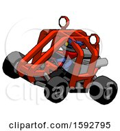 Red Police Man Riding Sports Buggy Side Top Angle View
