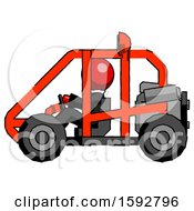Red Clergy Man Riding Sports Buggy Side View
