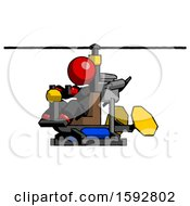 Red Clergy Man Flying In Gyrocopter Front Side Angle View