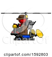 Red Detective Man Flying In Gyrocopter Front Side Angle View