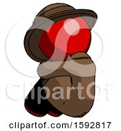 Red Detective Man Sitting With Head Down Back View Facing Left