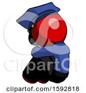 Red Police Man Sitting With Head Down Back View Facing Left