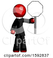 Red Clergy Man Holding Stop Sign