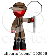 Red Detective Man Holding Stop Sign