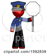 Red Police Man Holding Stop Sign