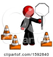 Red Clergy Man Holding Stop Sign By Traffic Cones Under Construction Concept