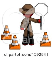 Red Detective Man Holding Stop Sign By Traffic Cones Under Construction Concept
