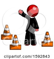 Red Clergy Man Standing By Traffic Cones Waving