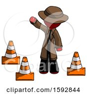 Red Detective Man Standing By Traffic Cones Waving