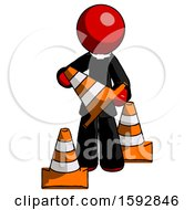 Red Clergy Man Holding A Traffic Cone