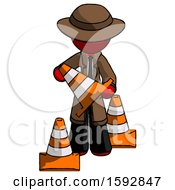 Red Detective Man Holding A Traffic Cone
