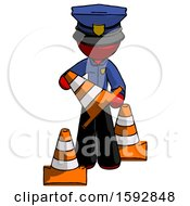 Red Police Man Holding A Traffic Cone
