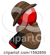 Red Detective Man Sitting With Head Down Facing Sideways Left