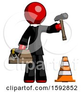 Red Clergy Man Under Construction Concept Traffic Cone And Tools