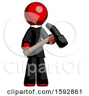Red Clergy Man Holding Hammer Ready To Work
